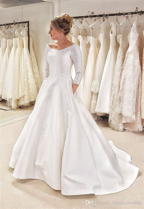discount     simple satin modest wedding dress