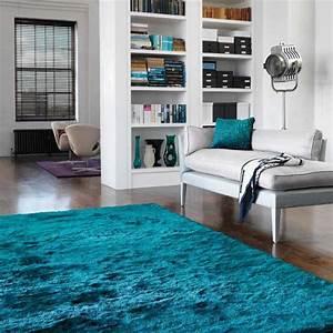 tapis contemporain shaggy bleu turquoise With tapis shaggy avec coussin canapé 80x40