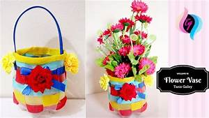Plastic bottle craft - How to make flower vase with waste ...
