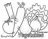 Coloring Vegetable Pages Vegetables Printable Fruit sketch template