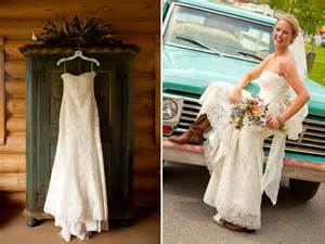 dresses to wear to a country wedding wears ivory lace wedding dress classic bridal updo and cowboy boots onewed