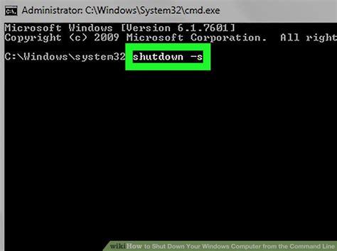 shut   windows computer   command