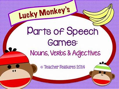 Speech Parts Monkey Lucky Noun Adjectives English