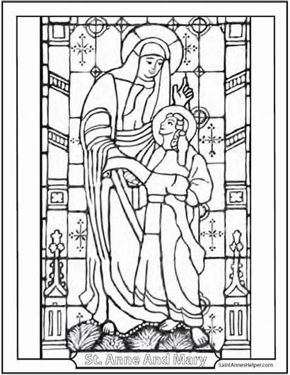 Saint Coloring Mary Stained Pages Glass Anne