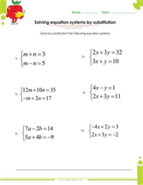 solving systems of equations by elimination or by substitution worksheets pdf printable