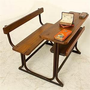 Banc Ecolier Vintage : banc d 39 cole vintage unique pour ecolier en bois de teck ~ Teatrodelosmanantiales.com Idées de Décoration