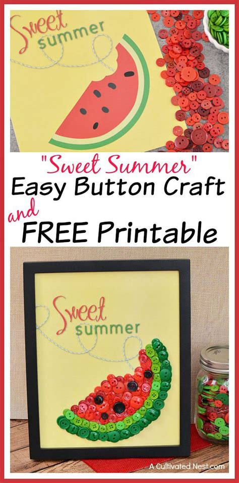easy watermelon button craft  printable button