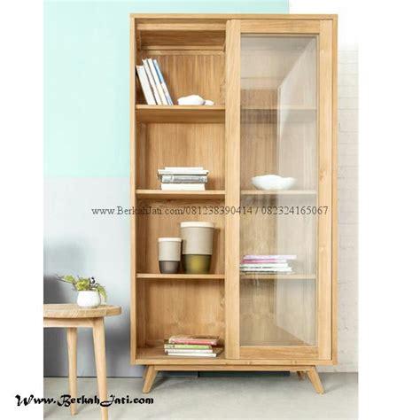 lemari buku minimalis pintu sliding berkah jati