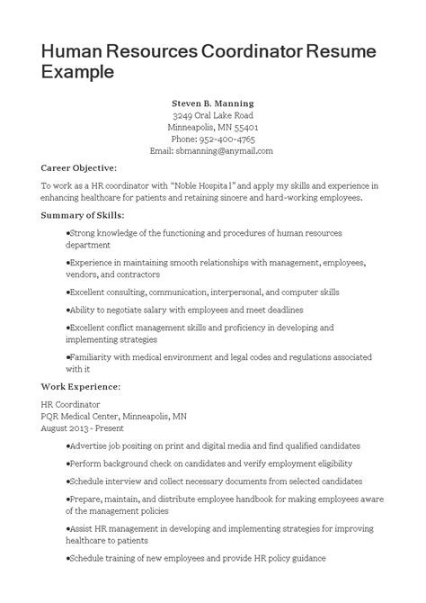Hr Coordinator Resume by Hr Coordinator Resume Templates At Allbusinesstemplates