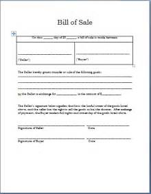 Sle Of A Bill Of Sale For An Automobile by Business Templates Word Templates