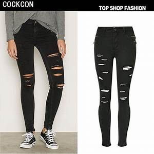 COCKCON 2017 spring high waist jeans women tight denim pants female holes black jeans ripped ...