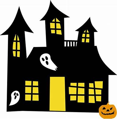 Haunted Clipart Clip Silhouette Transparent Houses Halloween
