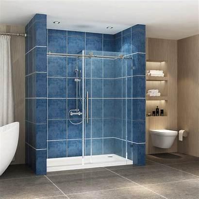 Shower Door Sliding Frameless Steel Stainless Brushed