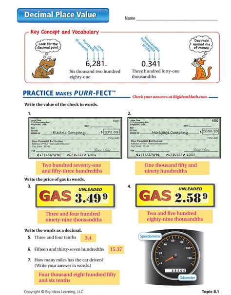 decimal place value worksheet answers 4th grade place
