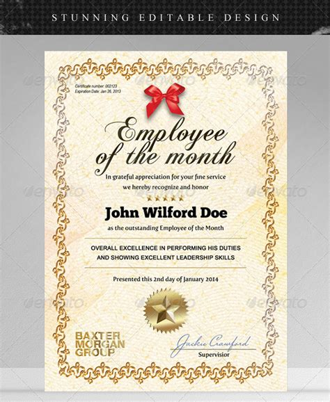 employee   month certificate templates designs