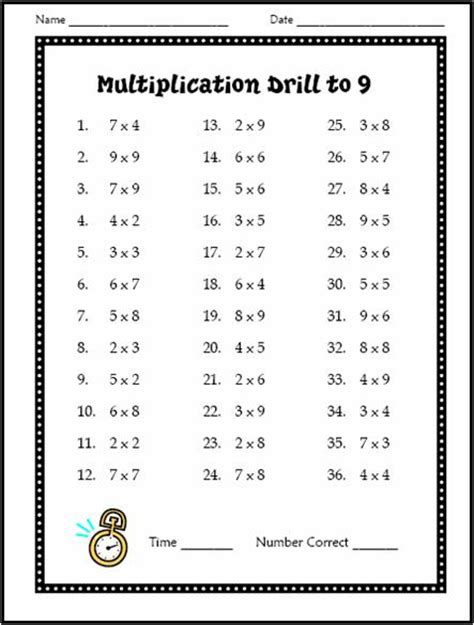 mathematics times tables worksheets free multiplication drill test use with students at the beginning of the year to assess math