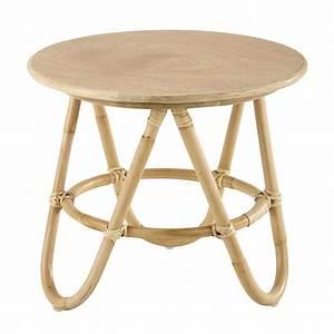 Table Basse Ronde En Bois Et Rotin D 46 Cm Suzane