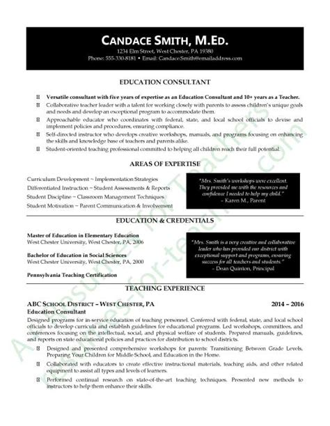 resume objective for educational consultant education consultant resume exle