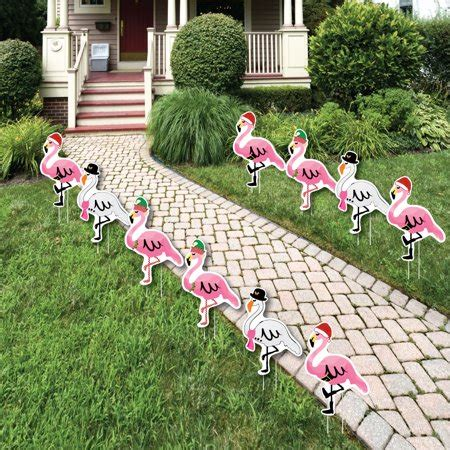 flamingle bells pink flamingo christmas lawn decorations