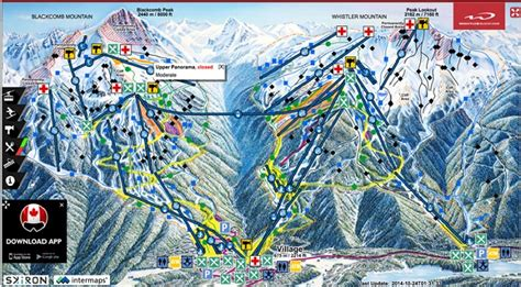 Gondola map for Peak Gondola Whistler and the junctions of