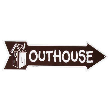 tin metal outhouse sign funny bathroom restroom arrow