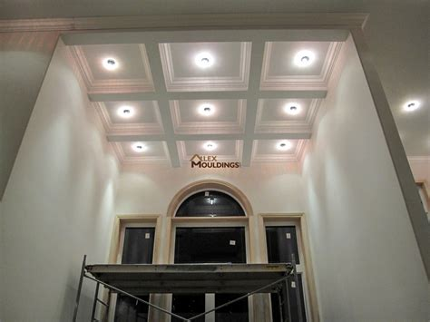 Coffered Ceiling Vs Waffle Ceiling by Hallway Waffle Ceiling With Pot Lights Coffered And