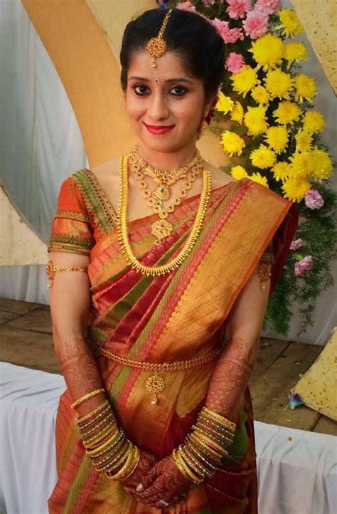 Traditional South Indian bride wearing bridal #saree