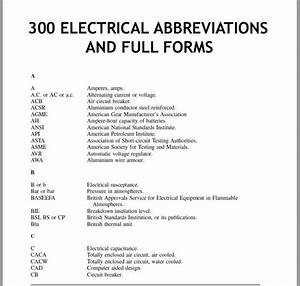 300 Electrical Abbreviations And Full Forms