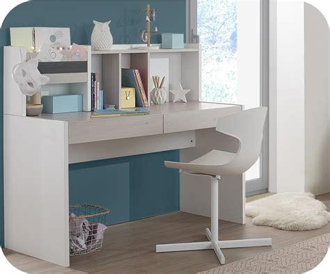 bois pour bureau bureau enfant iléo blanc et bois avec rangements