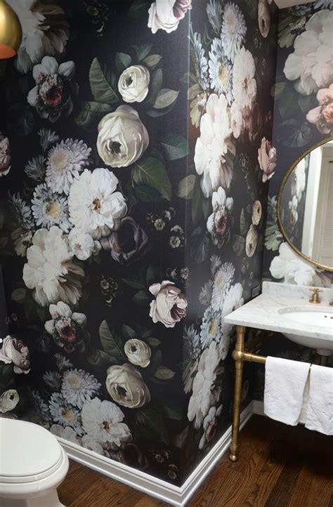 dark floral wallpaper  bathroom house home magazine