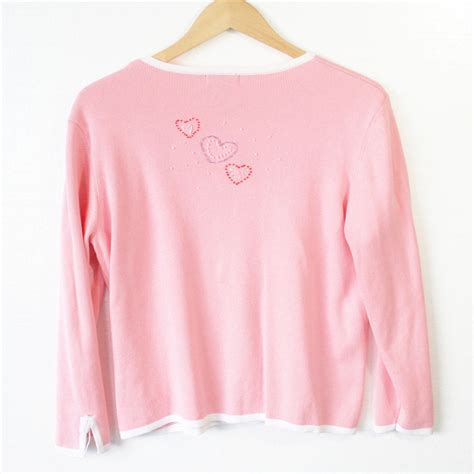 light pink sweater beaded hearts light pink cardigan valentines sweater