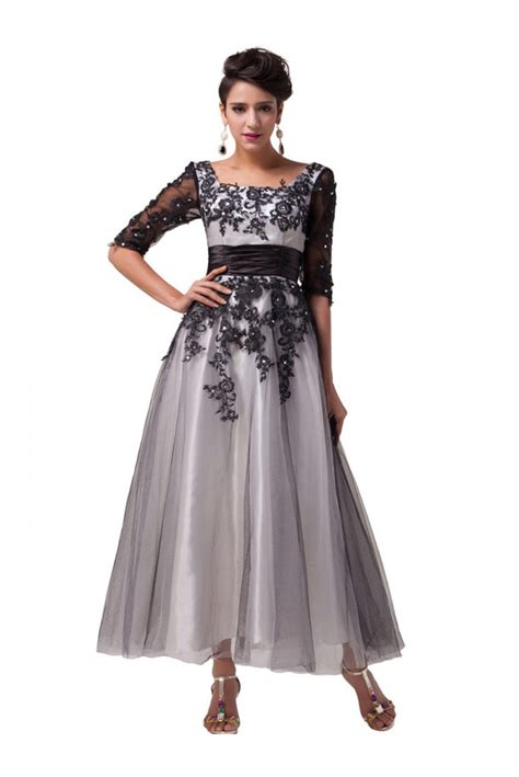 A-Line Tea Length Lace Appliques Tulle Mother of The Bride ...