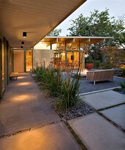 Yard patio midcentury with outdoor square fire pit