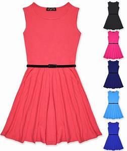 Girls Skater Dress Kids Party Dresses Belted New Age 7 8 9
