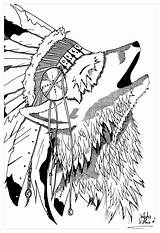 Coloring Native Wolf Pages American Tribal Teepee Adults Indian Feather Headdress Symbols Printable Dreamcatcher Indians Getcolorings Americans Tee Obsession Wearing sketch template