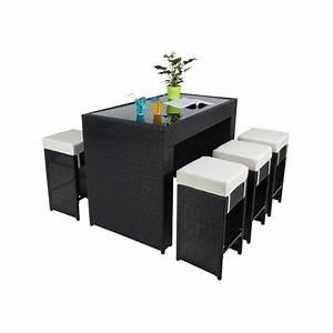 Salon De Jardin Table Haute : table haute salon de jardin rotin r sine tress synth tique 6 tabourets rotin noir ~ Teatrodelosmanantiales.com Idées de Décoration