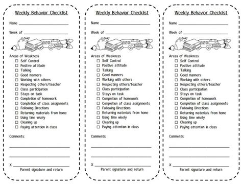 behavior list print this weekly behavior checklist for students balance