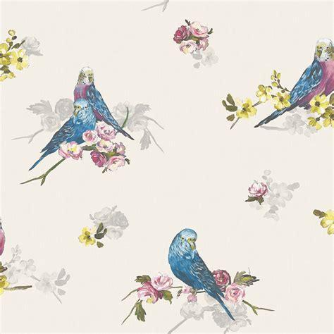 Statement Budgie Blue & Grey Floral Birds Wallpaper