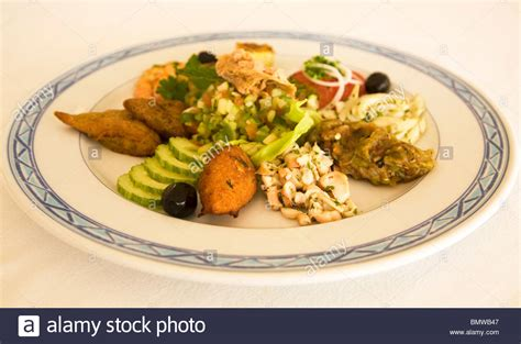 Traditional Mediterranean Style Food Is Served In Djerba