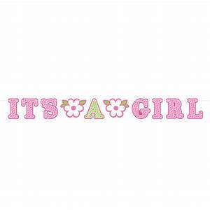 Welcome Baby Girl Illustrated Letter Banner - 6 PKG/2