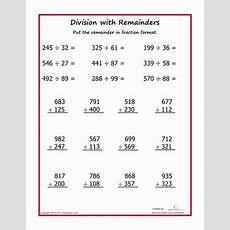 Division With Remainders #2  Worksheet Educationcom