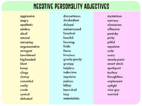 Negative Personality Adjectives