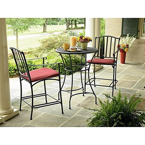 iron patio furniture set wrought iron 3 pc bistro set table and two chairs with