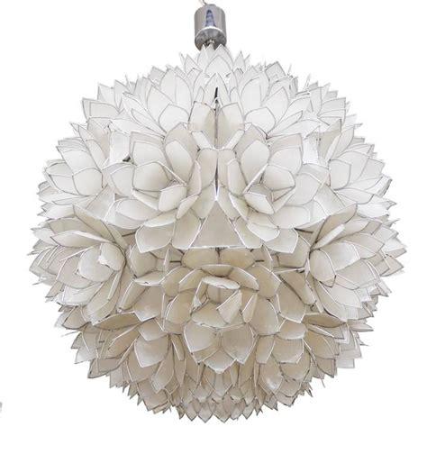large capiz shell pendant light lotus 1960s for sale