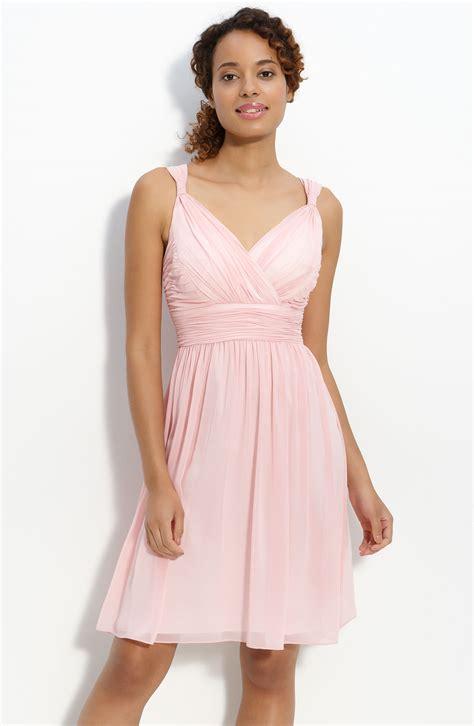 light blush pink dress donna morgan ruched chiffon dress in pink blush lyst