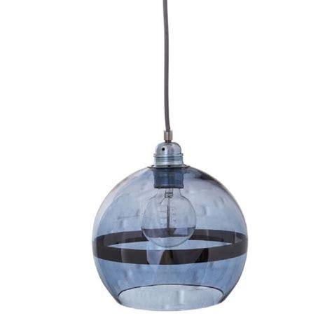 globe shaped ceiling pendant light in transparent blue glass