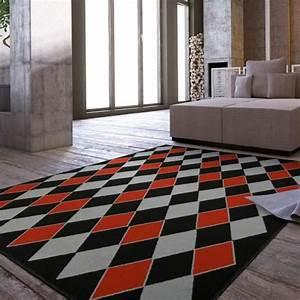 Tapis C Discount : tapis salon losanges rouge et gris universol achat ~ Teatrodelosmanantiales.com Idées de Décoration