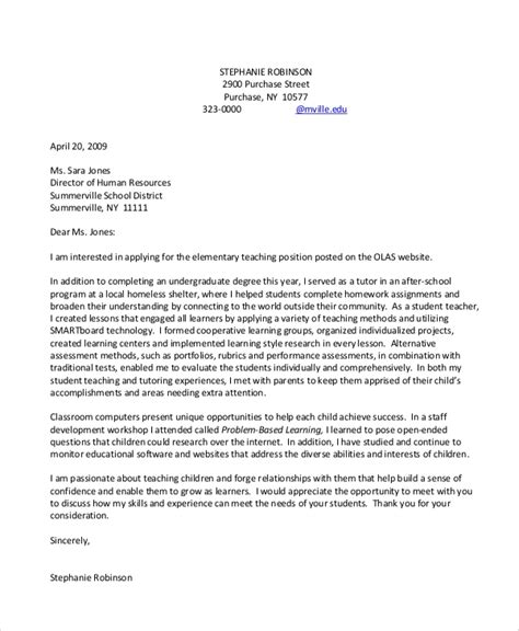 Sle Cover Letter For Teaching With No Experience by 8 Sle Cover Letters Pdf Word