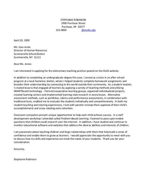sample teacher cover letters  word