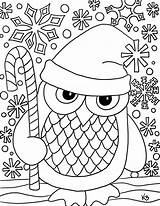 Owl Coloring Santa Christmas Printable Snow Them sketch template